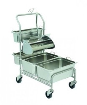 Slika za Cleaning trolleys Clino<sup><SUP>&reg;</SUP></sup> CR1 FP-GMP / Clino<sup><SUP>&reg;</SUP></sup> CR3 FP-GMP with flat wringer Ringo GMP<sup><SUP>&reg;</SUP></sup>, stainless steel